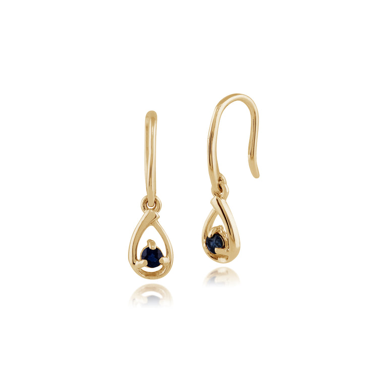 Classic Round Sapphire Drop Earrings in 9ct Yellow Gold