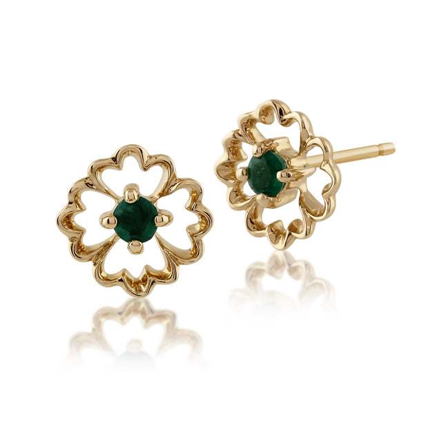 Floral Round Emerald Stud Earrings in 9ct Yellow Gold
