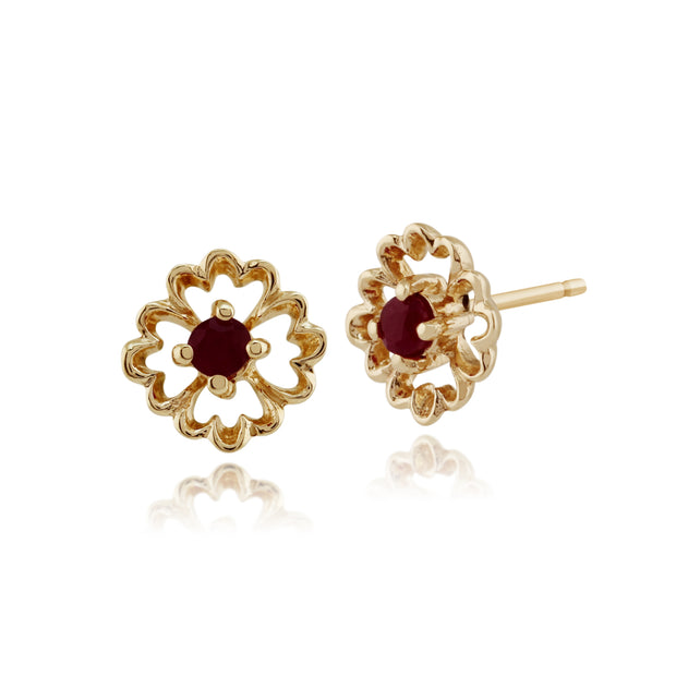 Floral Round Ruby Stud Earrings in 9ct Yellow Gold