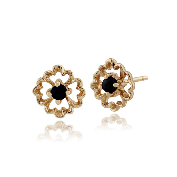 Floral Round Sapphire Stud Earrings in 9ct Yellow Gold