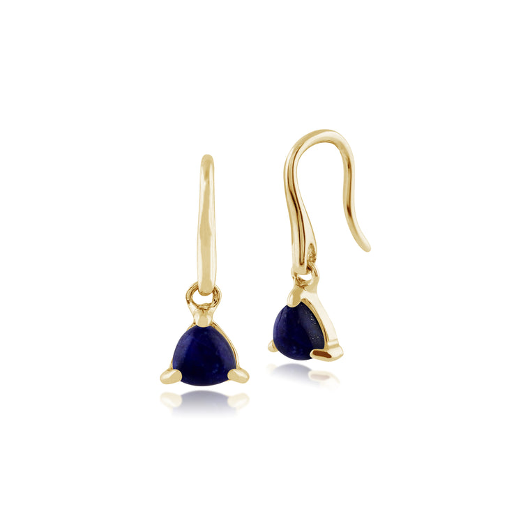 Classic Trillion Lapis Lazuli Drop Earrings in 9ct Yellow Gold