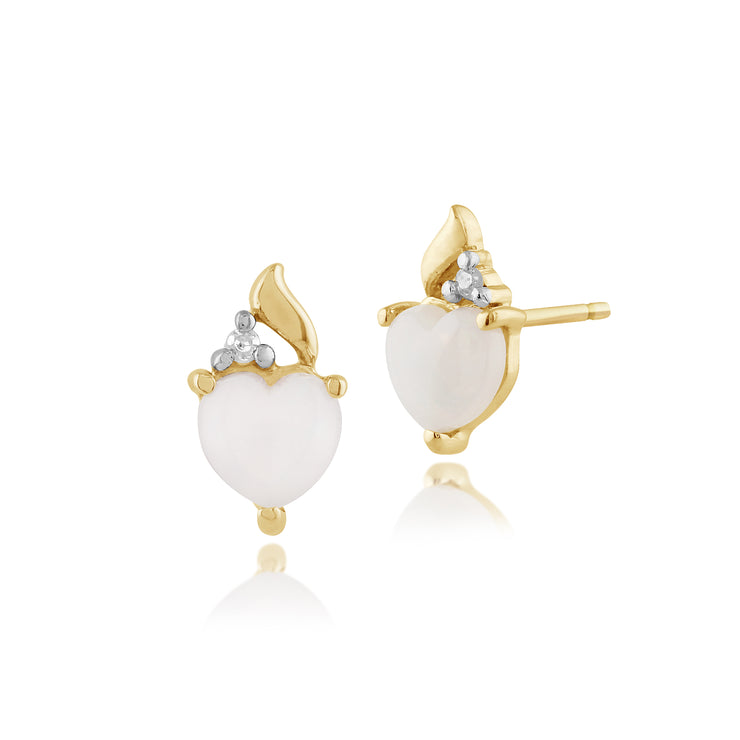 Classic Heart Opal & Diamond Stud Earrings in 9ct Yellow Gold