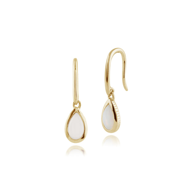 Classic Pear Opal Drop Earrings in 9ct Yellow Gold