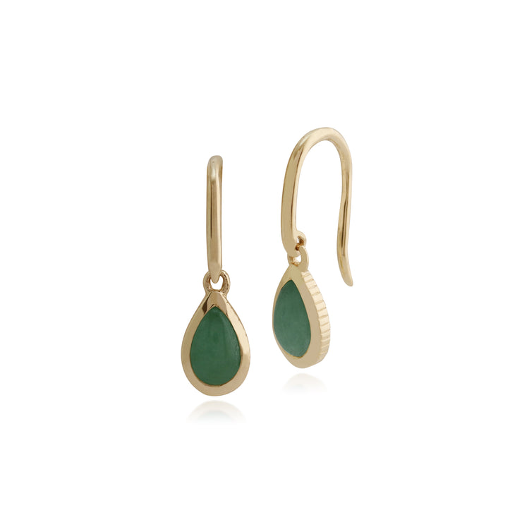 Classic Green Jade Bezel Set Drop Earrings in 9ct Yellow Gold