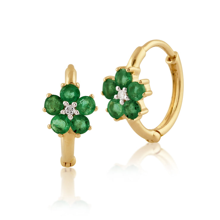 Floral Round Emerald & Diamond Hoop Earrings in 9ct Yellow Gold