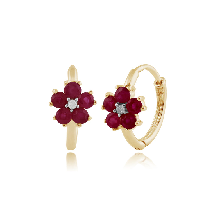 Floral Round Ruby & Diamond Hoop Earrings in 9ct Yellow Gold