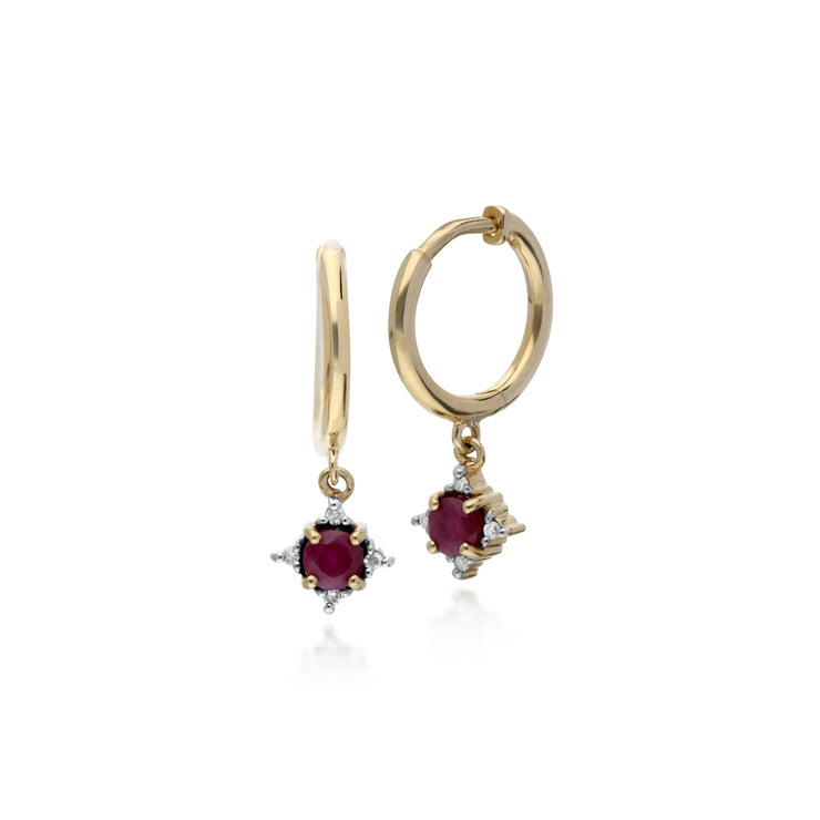 Classic Round Ruby & Diamond Hinged Hoop Earrings in 9ct Yellow Gold