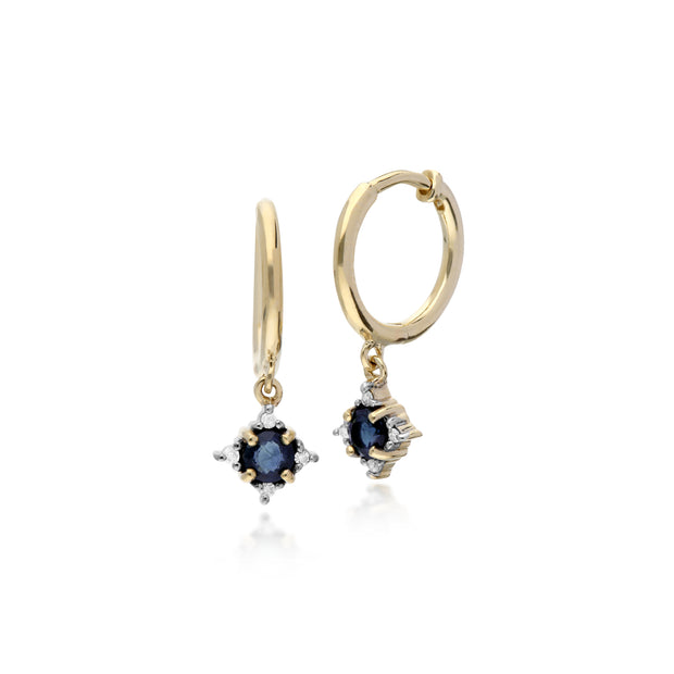 Classic Round Sapphire & Diamond Hinged Hoop Earrings in 9ct Yellow Gold