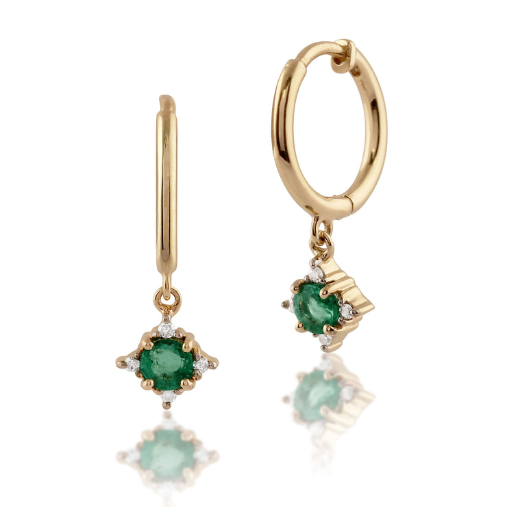 Classic Round Emerald & Diamond Hoop Earrings in 9ct Yellow Gold