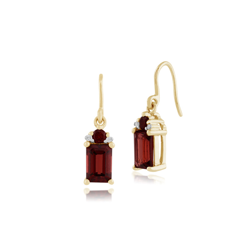 Classic Baguette Garnet & Diamond Drop Earrings in 9ct Yellow Gold
