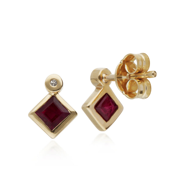 Geometric Square Ruby & Diamond Stud Earrings in 9ct Yellow Gold