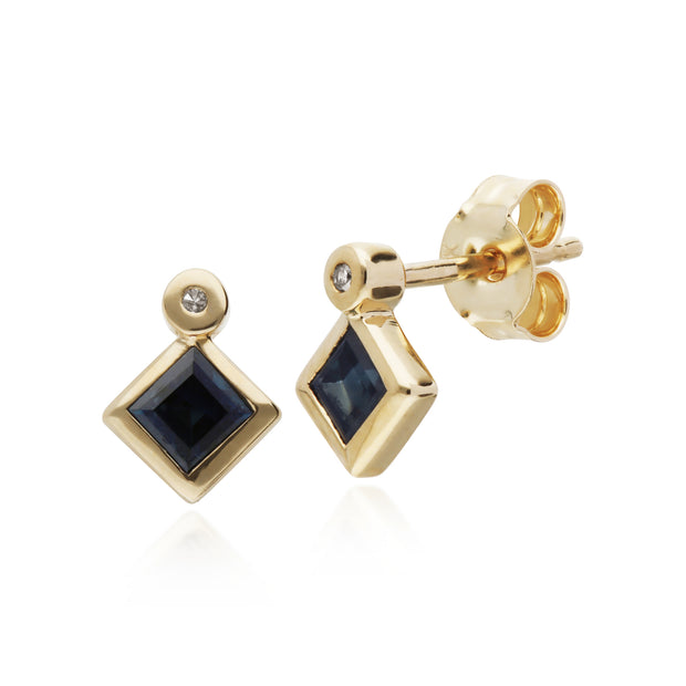 Geometric Square Sapphire & Diamond Stud Earrings in 9ct Yellow Gold