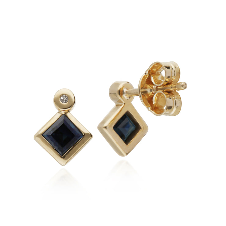 Geometric Square Sapphire & Diamond Stud Earrings in 9ct Yellow Gold Back