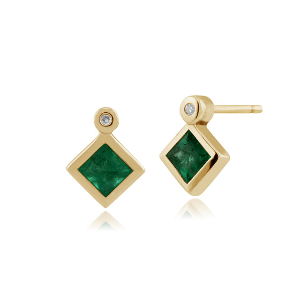 Classic Square Emerald & Diamond Bezel Set Stud Earrings in 9ct Yellow Gold