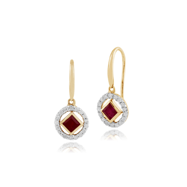 Classic Square Ruby & Diamond Halo Drop Earrings in 9ct Yellow Gold