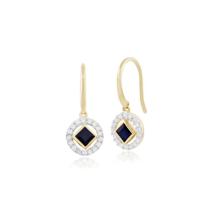 Classic Square Sapphire & Diamond Halo Drop Earrings in 9ct Yellow Gold