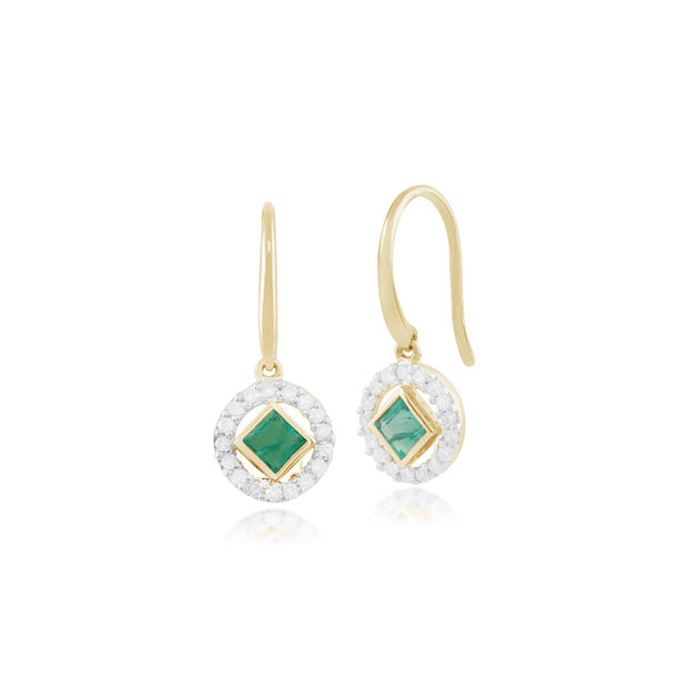 Classic Square Emerald & Diamond Halo Drop Earrings in 9ct Yellow Gold