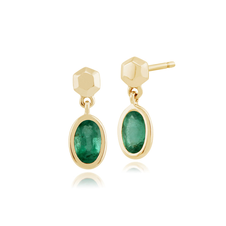 Classic Oval Emerald Bezel Set Drop Earrings in 9ct Yellow Gold