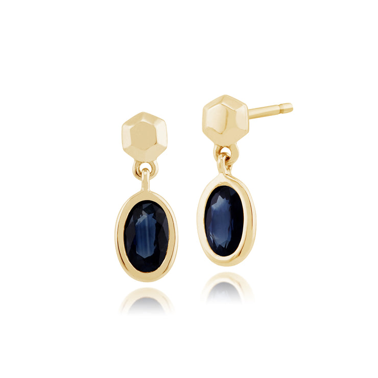 Classic Oval Sapphire Bezel Set Drop Earrings in 9ct Yellow Gold