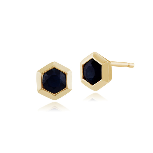 Geometric Hexagon Sapphire 9ct Yellow Gold Stud Earrings