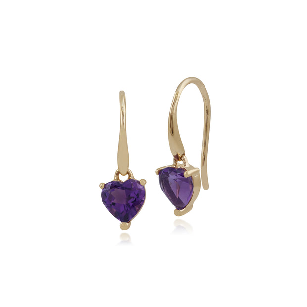 Classic Heart Amethyst Claw Set Heart Drop Earrings in 9ct Yellow Gold