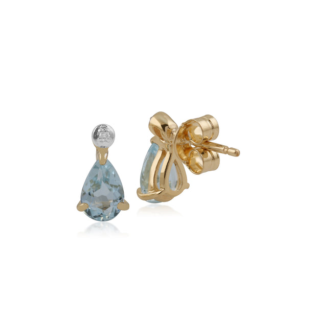 Classic Pear Blue Topaz & Diamond Drop Earrings in 9ct Yellow Gold