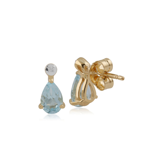 Classic Pear Aquamarine & Diamond Drop Earrings in 9ct Yellow Gold