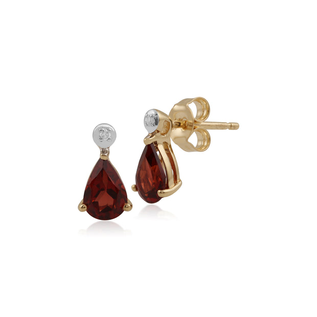 Classic Pear Garnet & Diamond Drop Earrings in 9ct Yellow Gold