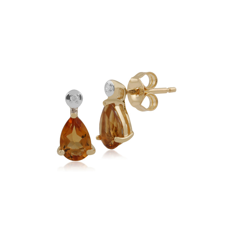 Classic Pear Citrine & Diamond Drop Earrings in 9ct Yellow Gold