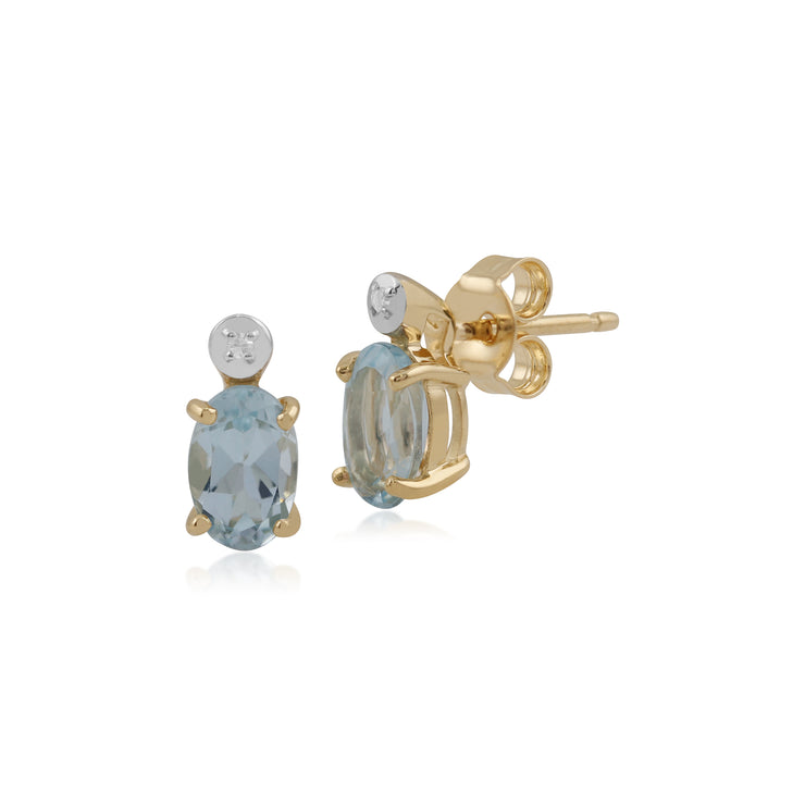 Classic Oval Aquamarine & Diamond Stud Earrings in 9ct Yellow Gold