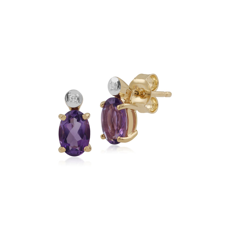 Classic Oval Amethyst & Diamond Stud Earrings in 9ct Yellow Gold