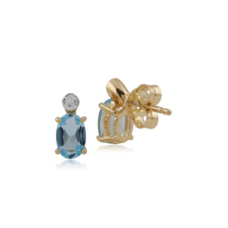 Classic Oval Blue Topaz & Diamond Stud Earrings in 9ct Yellow Gold