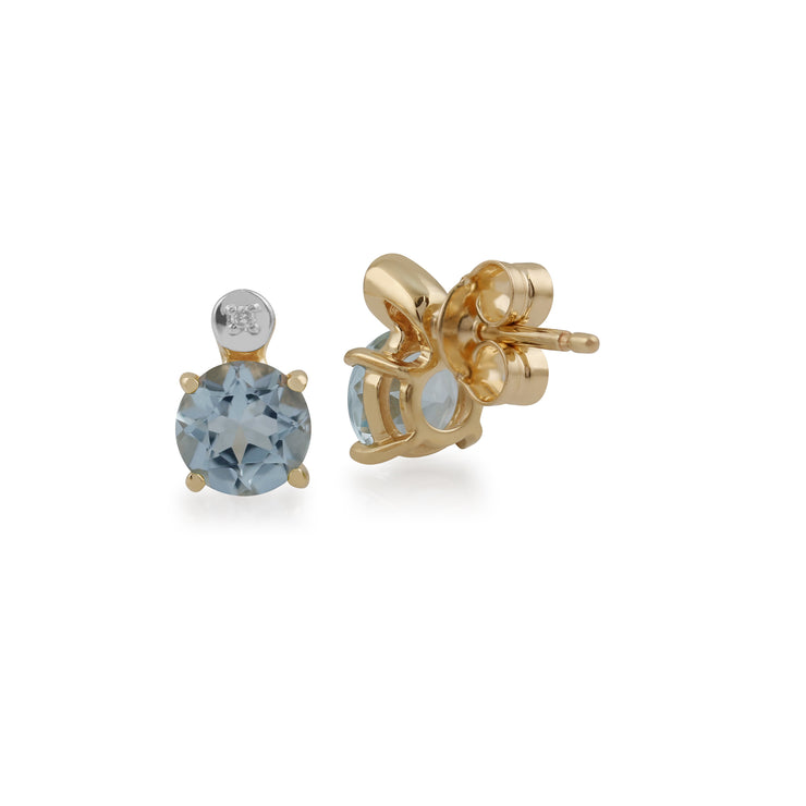 Classic Round Aquamarine & Diamond Stud Earrings in 9ct Yellow Gold