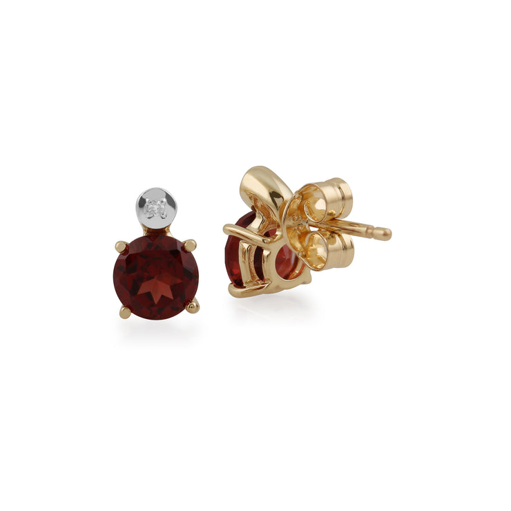 Classic Round Garnet & Diamond Stud Earrings in 9ct Yellow Gold