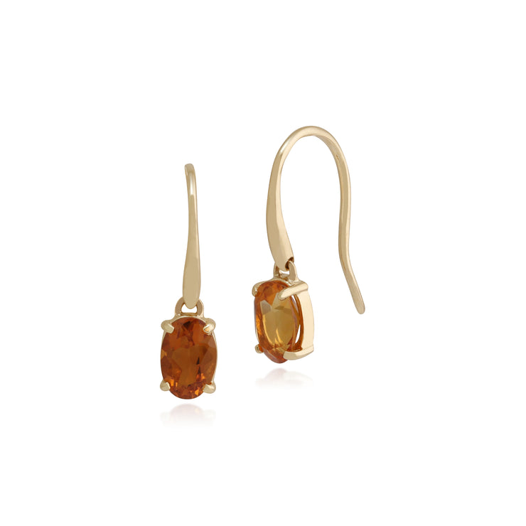 Classic Oval Citrine Claw Set Drop Earrings in 9ct Yellow Gold