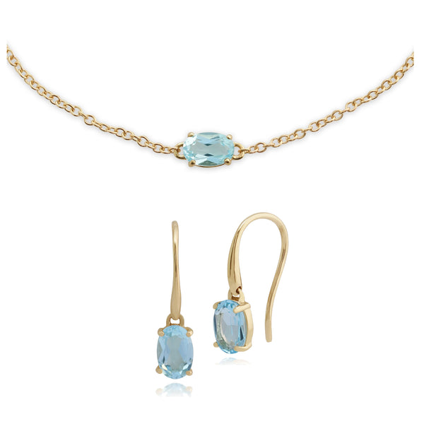 Classic Blue Topaz Single Stone Drop Earrings & Bracelet Set Image 1