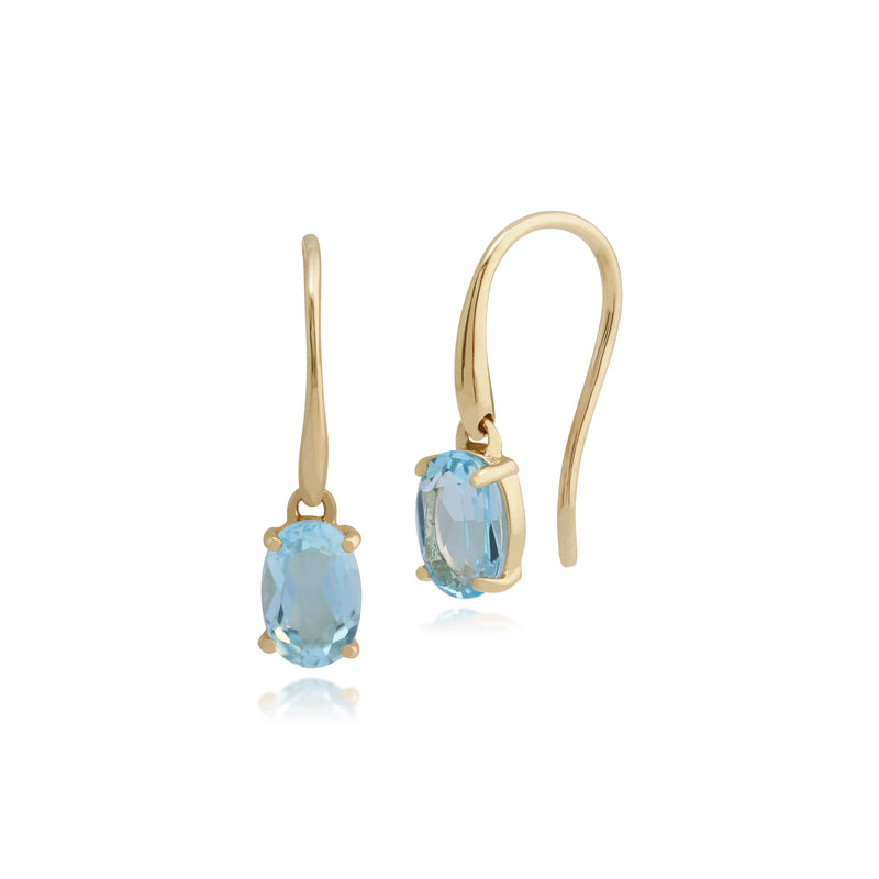 Classic Oval Blue Topaz Claw Set Drop Earrings in 9ct Yellow Gold