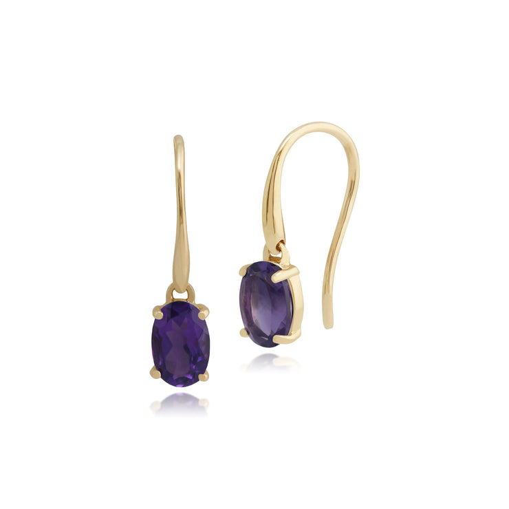 Classic Oval Amethyst Claw Set Drop Earrings in 9ct Yellow Gold