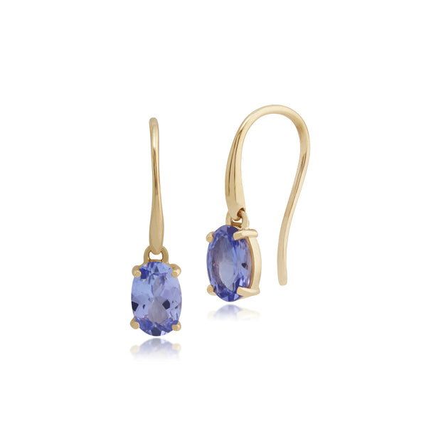 Classic Oval Tanzanite Claw Set Drop Earrings in 9ct Yellow Gold