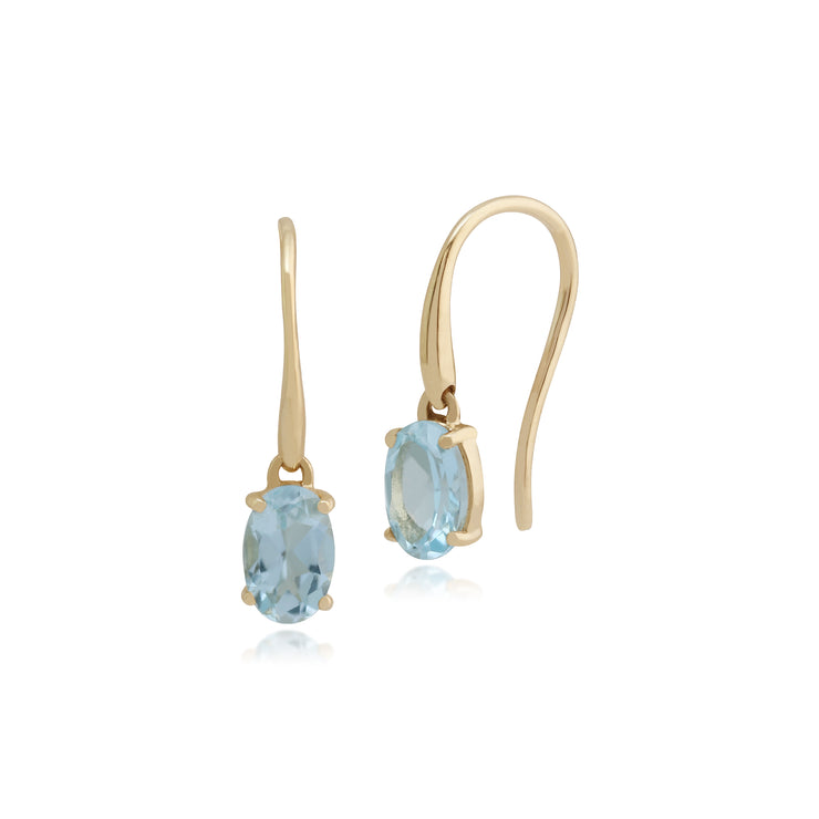 Classic Oval Aquamarine Claw Set Drop Earrings in 9ct Yellow Gold