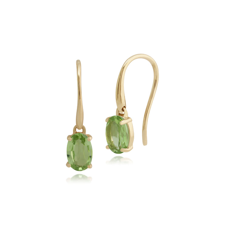 Classic Oval Peridot Claw Set Drop Earrings in 9ct Yellow Gold