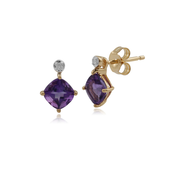 Classic Square Amethyst & Diamond Stud Earrings in 9ct Yellow Gold