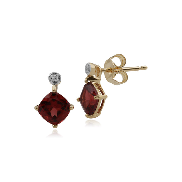 Classic Square Garnet & Diamond Stud Earrings in 9ct Yellow Gold
