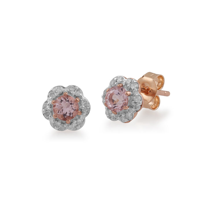 Floral Round Morganite & Diamond Halo Stud Earrings in 9ct Rose Gold
