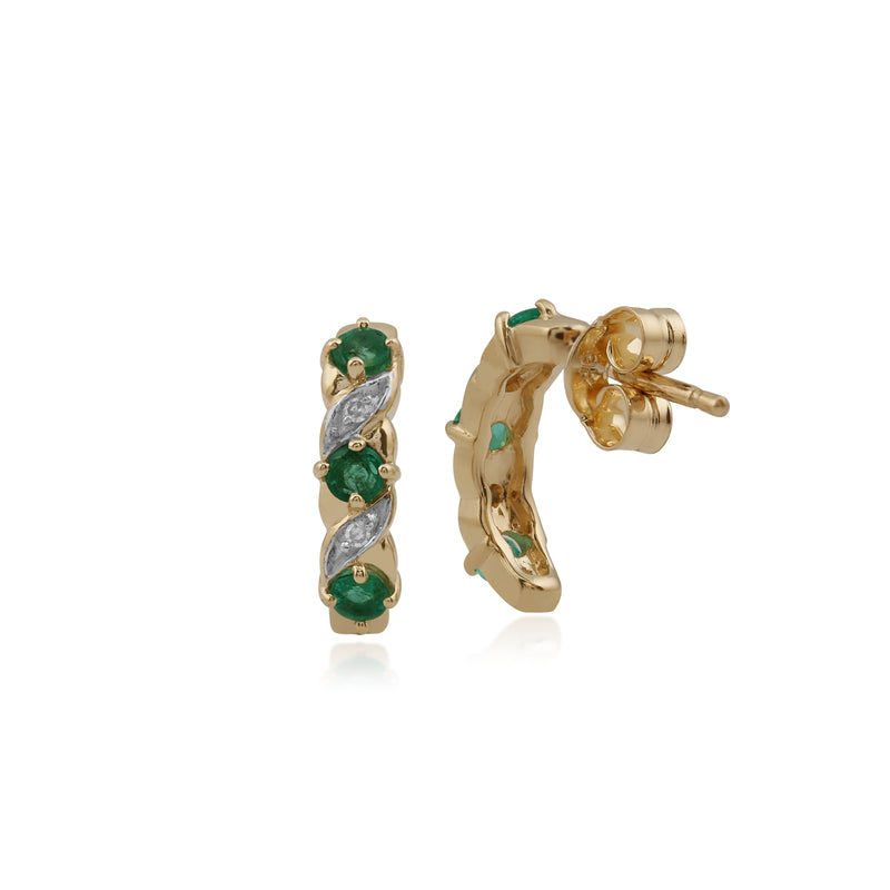Classic Round Emerald & Diamond Half Hoop Earrings in 9ct Yellow Gold