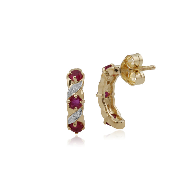 Classic Ruby & Diamond Half Hoop Earrings Image 2