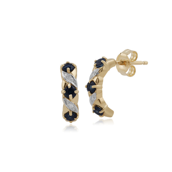 Classic Sapphire & Diamond Half Hoop Earrings Image 1