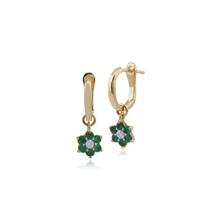 Floral Round Emerald & Diamond Omega Clip Hoop Earrings in 9ct Yellow Gold