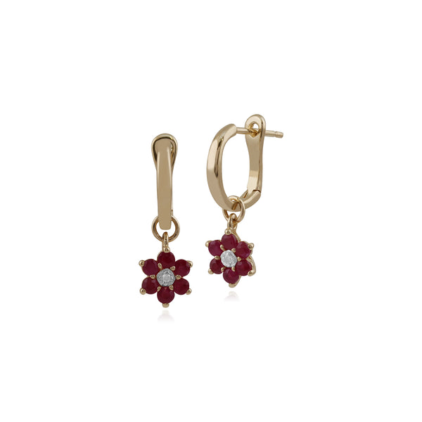 Floral Round Ruby & Diamond Omega Clip Hoop Earrings in 9ct Yellow Gold