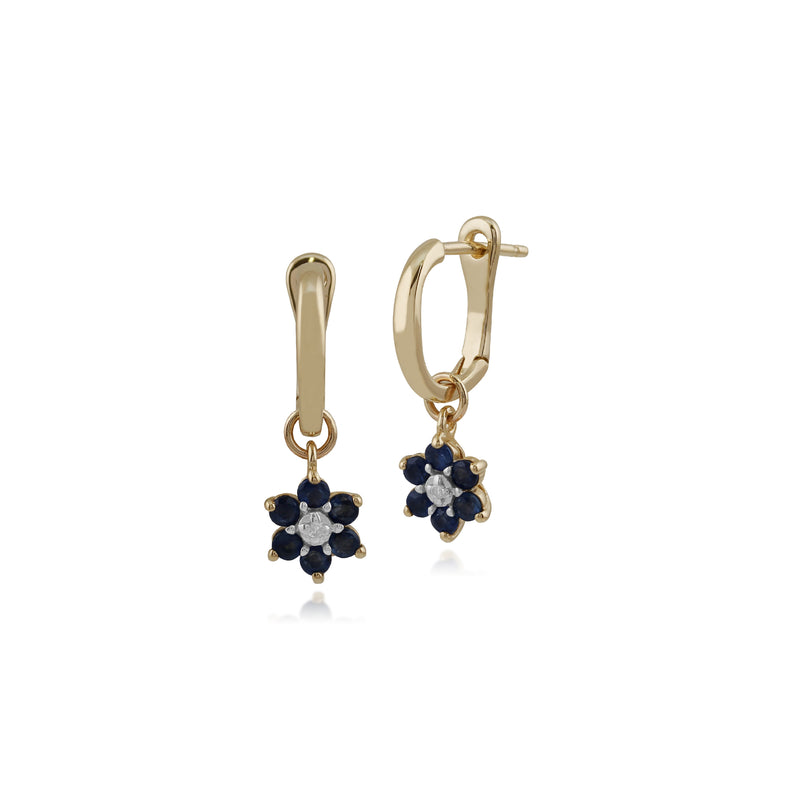 Floral Round Sapphire & Diamond Omega Clip Hoop Earrings in 9ct Yellow Gold